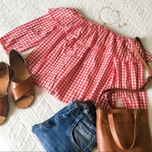 a'gaci Red Gingham Off-the-Shoulder Top
